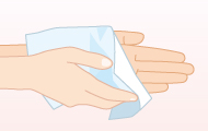 9. ペーパータオルや清潔な タオルなどでよく拭き取り、十分に乾燥させる