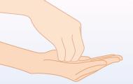 2. 最初に両手の指先を 消毒する