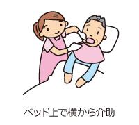 ベッド上で横から介助